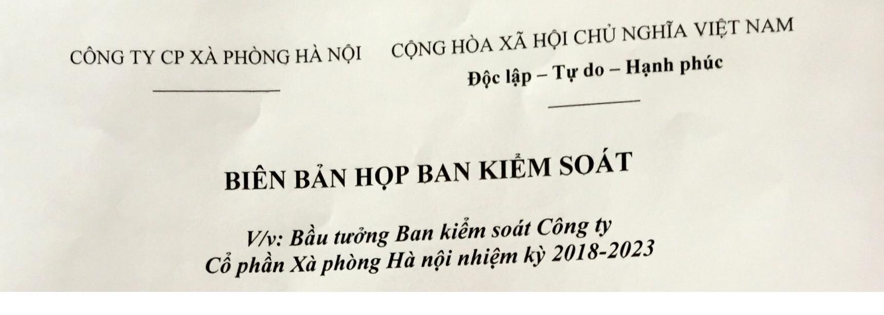 Biên bản họp Ban kiểm soát về việc bầu trưởng ban kiểm soát nhiệm kỳ 2018-2023